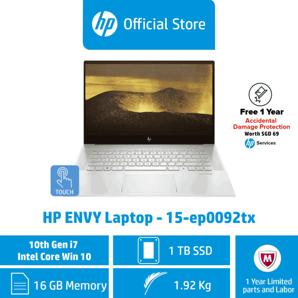 HP ENVY Laptop - 15-ep0092tx / Intel® Core™ i7-10750H / 16GB RAM / 1TB SSD / Win 10 / NVIDIA GeForce GTX1660 / 1 Year Limited Warranty / First Year ADP Coverage