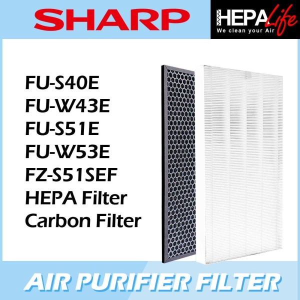 SHARP FU-S40E FU-W43E FU-S51E FU-W53E  FZ-S51SEF Compatible HEPA and Carbon Filter - Hepalife Singapore