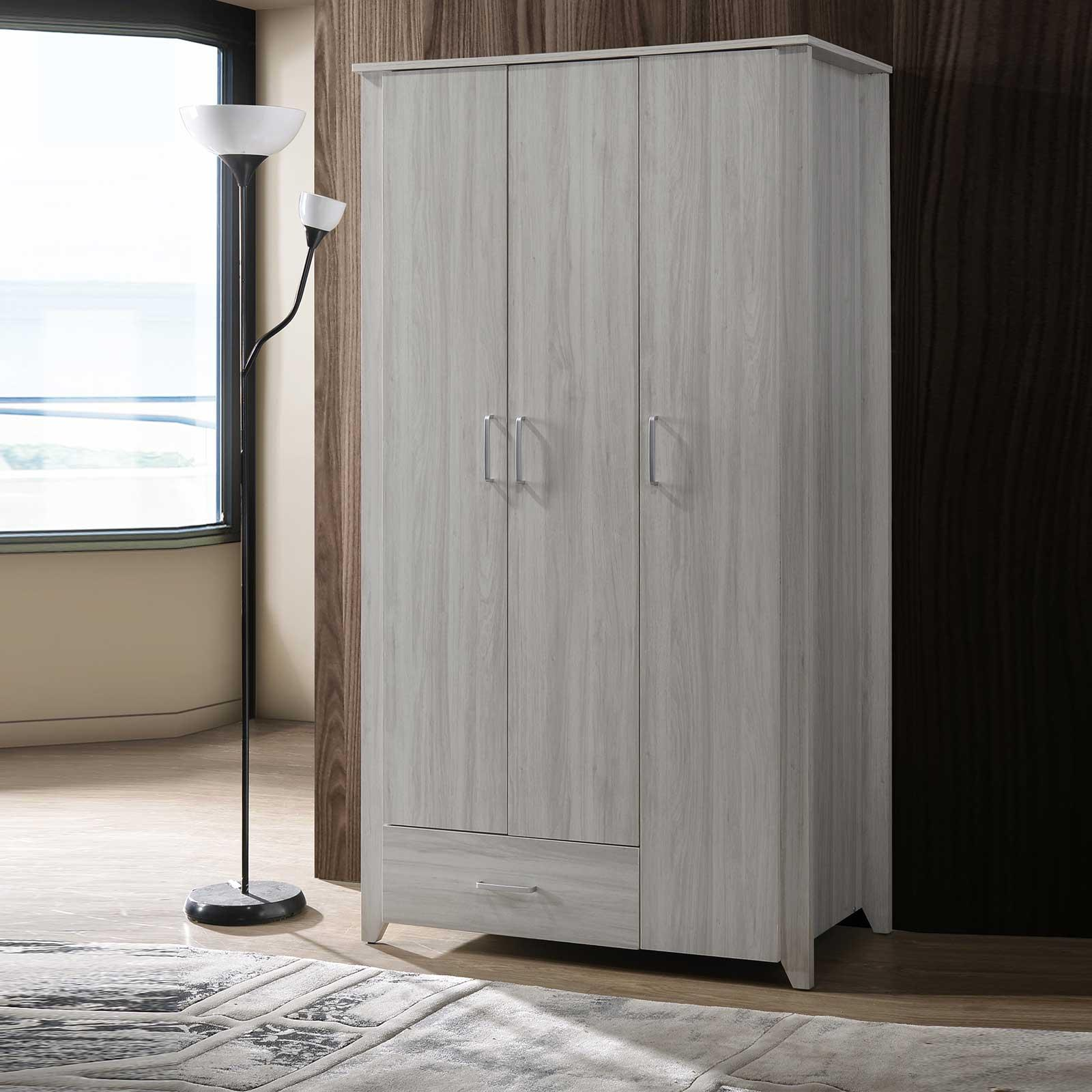 3 Door Wardrobe (Free Installation + Delivery) with 1 Drawer in White Oak E-LIVING Furniture