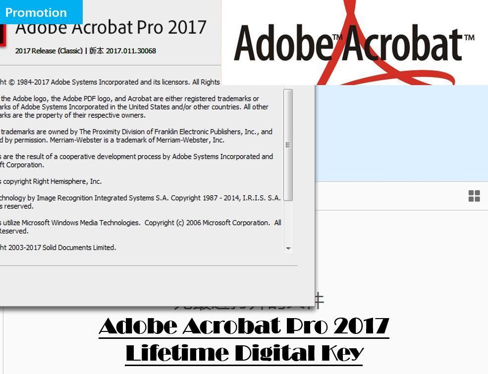 Promotion! Adobe Acrobat Pro 2017 Windows/MAC Lifetime! (Electronic  Download Adobe Website)