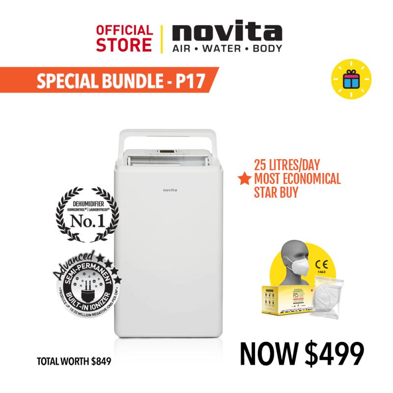 novita P17: Dehumidifier ND25 + FOC Redemption novita Surgical Respirator R5 (100pcs in a box) - Size M Singapore