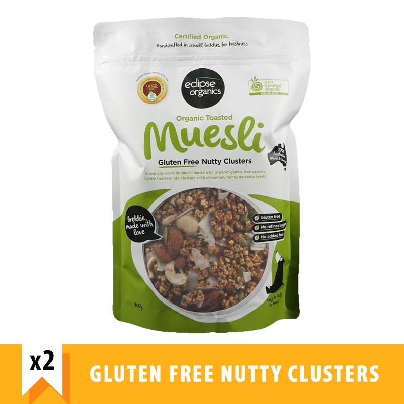 Eclipse Organics Toasted Muesli Gluten Free Nutty Clusters (400g X 2) By Forever Young Sg.
