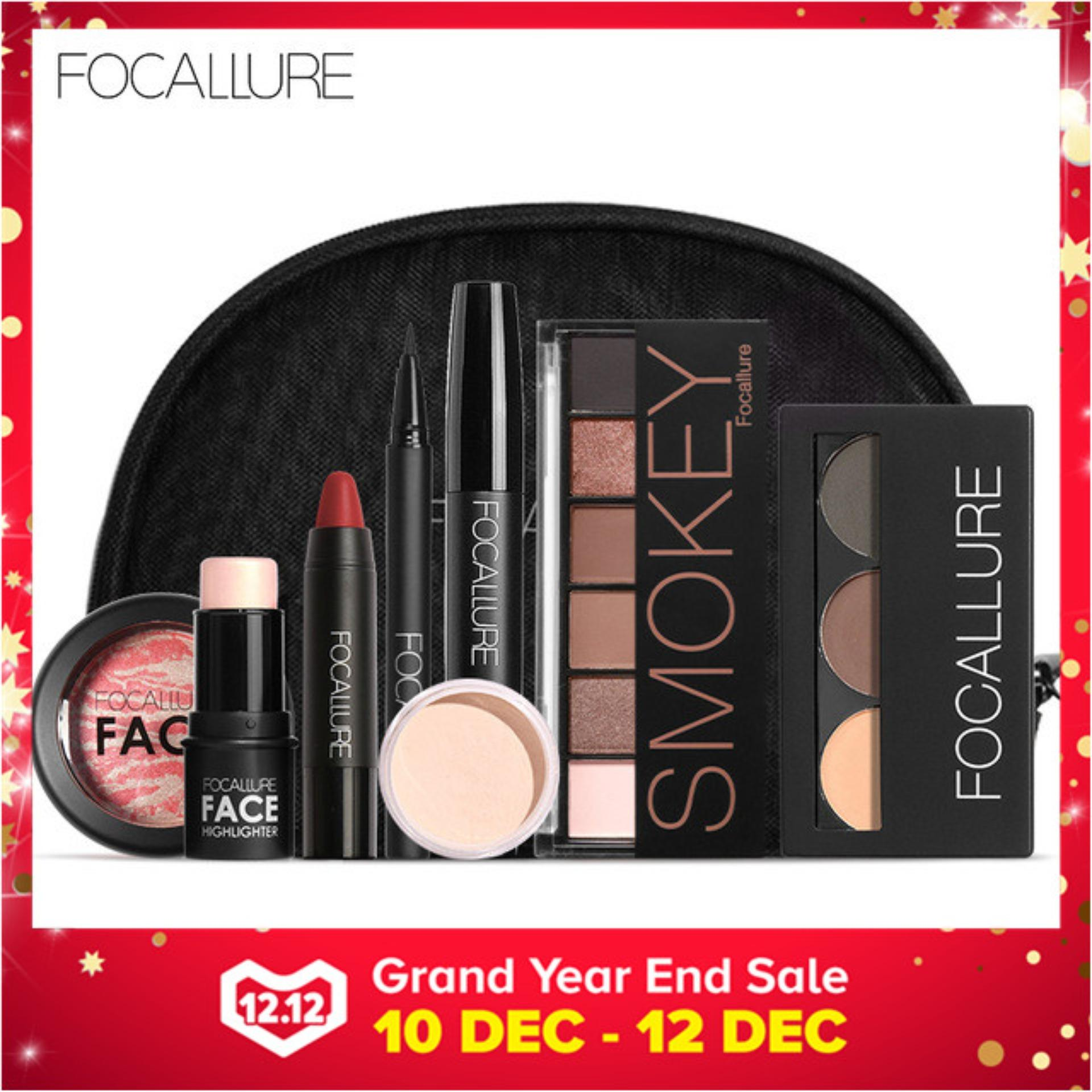 FOCALLURE Brand 8 PCS Makup Tool Kit Cosmetics Including Eyeshadow Lipstick Powder Mascara With Make up