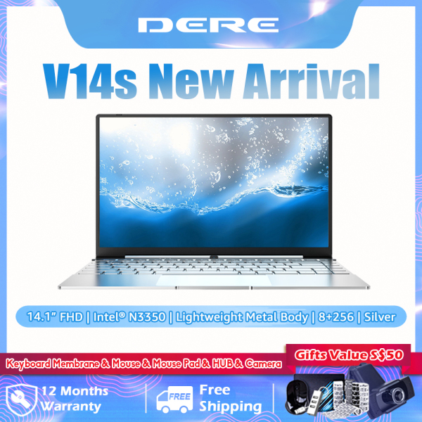 DERE Promotion V14s Laptop For Sale Brand New 14.1 inch FHD Screen | Intel Apollo N3350 CPU | DDR4 8GB RAM + 256GB SSD ROM | Windows 10 Pro | 2.4G+5G WiFi Online Learning Computer PC (8+256, Silver/Pink)