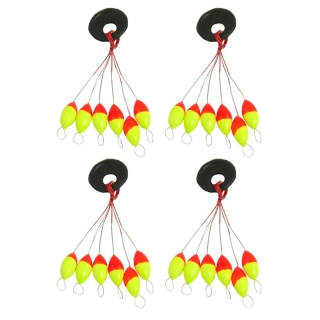 4 Pcs Yellow Red Plastic 6 in 1 Fishing Bobber Stopper Sz 3 thumbnail