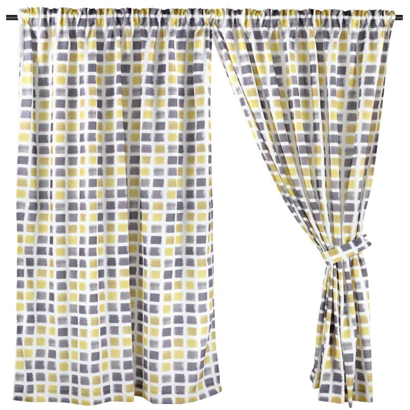 Half Length (147cm W x 172cm H) Ready Made Curtain, Printed Night Curtain, Yellow, 3 Ways Hanging Options