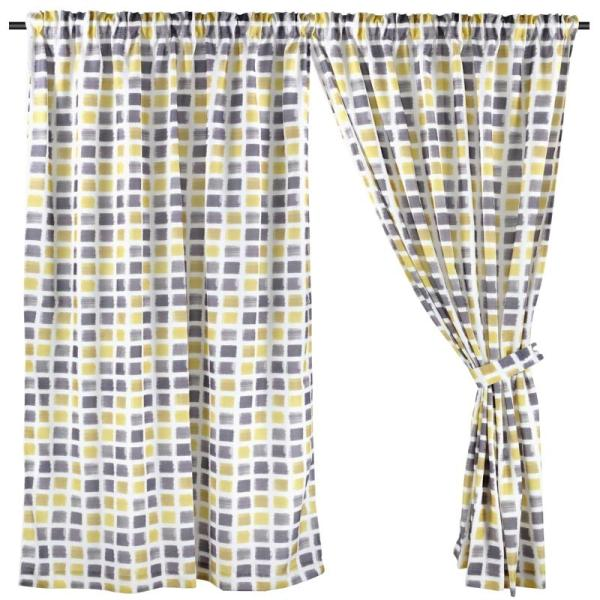 Full Length (147cm W x 228cm H) Ready Made Curtain, Printed Night Curtain, Yellow, 3 Ways Hanging Options