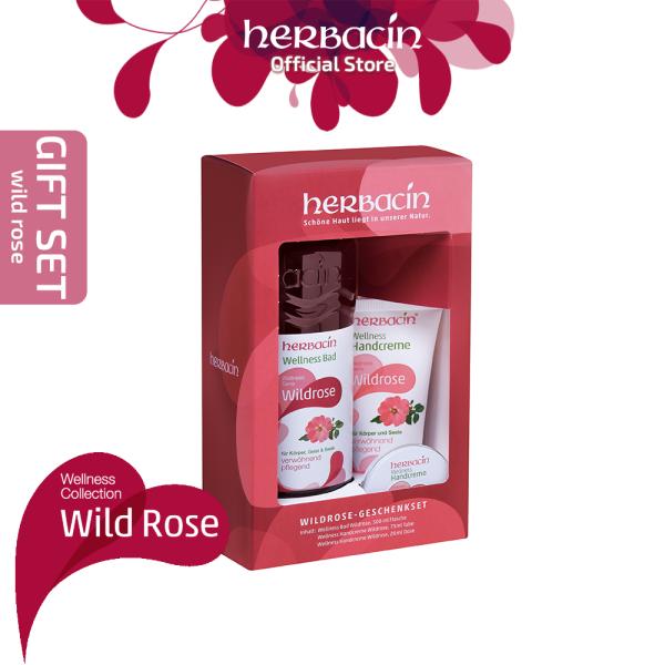 Buy Herbacin Wild Rose Gift Set (Wellness Bath Wild Rose, 500 ml + Wellness Hand Cream Wild Rose, 75 ml + Wellness Hand Cream Wild Rose, 20 ml) | Traditional German Herbal Cosmetics Company Singapore