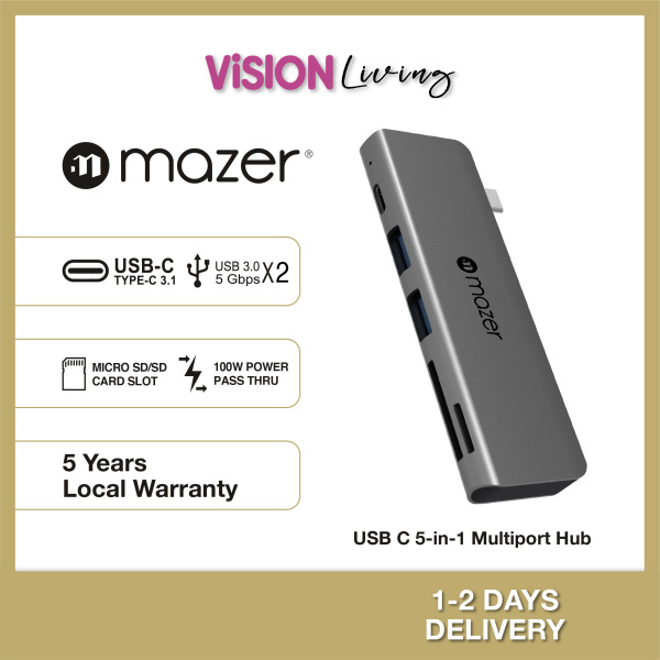Mazer USB C 5 in 1 Direct Plug In to USB3.0X2 SD Micro SD USB C PD3.0 Charging 5 Years Warranty