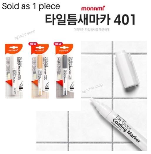 1 x Monami Tile Grout Coating Marker DIY White Cement Paint Repair Pen Floor Bathroom Tile Grouting Line Cleaner Mold Remover