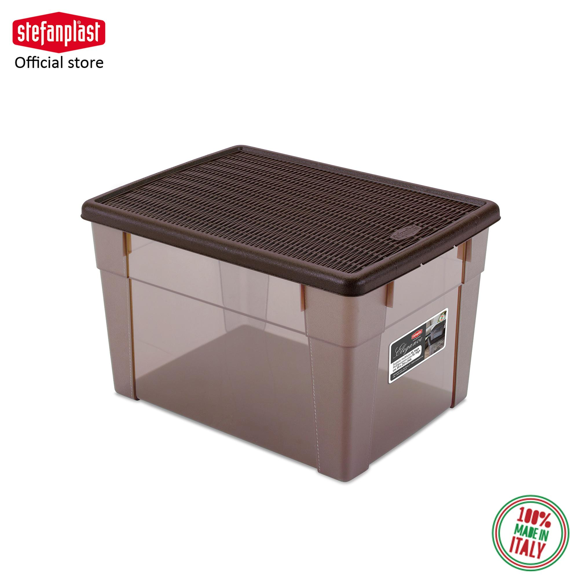 20L Elegance Multipurpose Box HIGH (Size XL) See-Through Stackable Storage Box High Quality Sturdy 100% Made in Italy