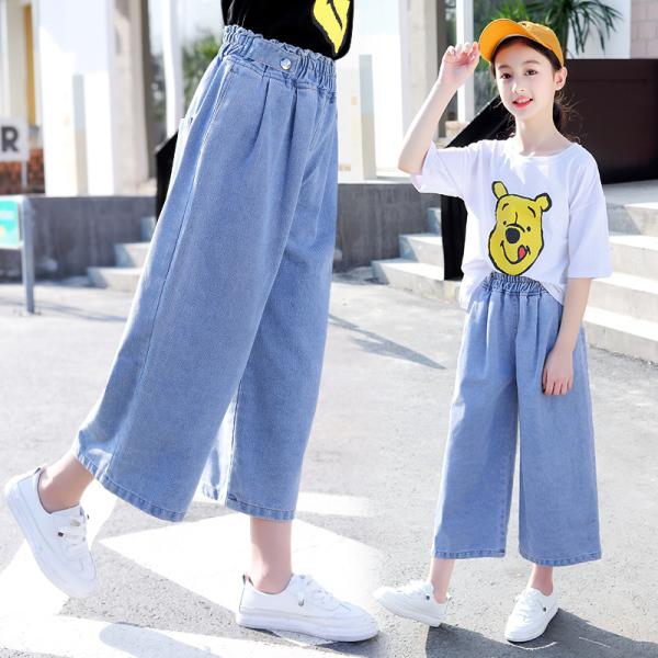 Giá bán Bé Gái Quần Ống Rộng Mùa Hè Phong Cách Tây Ống Đứng 2020 Trang Phục Mùa Hè Bộ Váy Bồng Hè Quần Phiên Bản Hàn Quốc 12 15 Quần Áo Trẻ Em Nữ