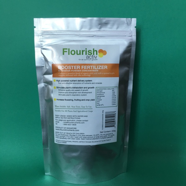 NEW - Booster Fertilizer Activator Powder Concentrates 250 gm packed. Contains Powerful Blend of Organic Citric Acid with A Optimal N-P-K Complex Delivered With Extra Technology