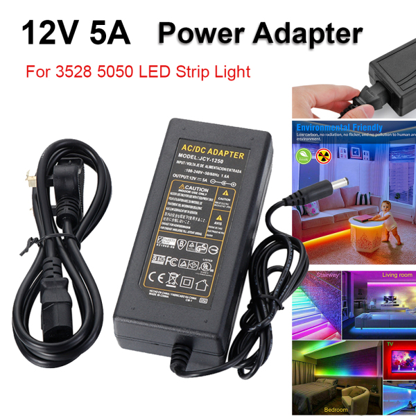 12V 5A Home AC DC CCTV Fairy Lights For 3528 5050 Power Supply Adapter Charger LED Strip Light