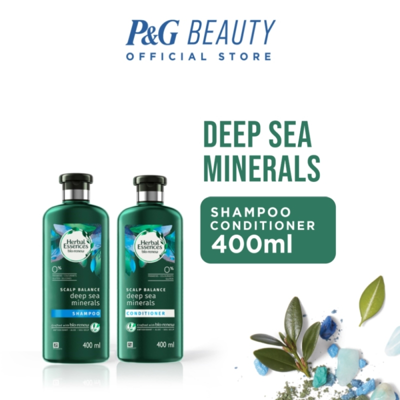 Buy [Bundle of 2] Herbal Essences Bio:renew Deep Sea Minerals Shampoo 400ml + Conditioner 400ml Singapore