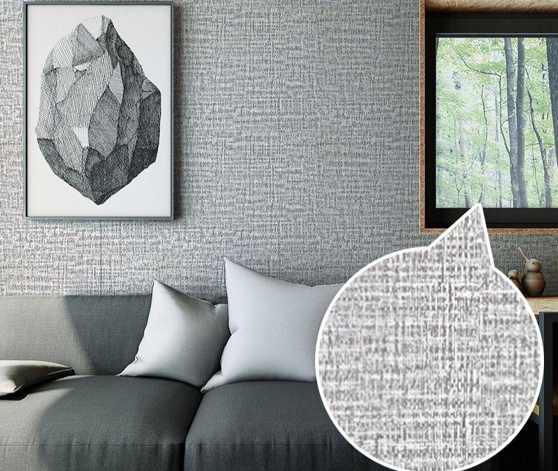 MagicFix 45*10M Self Adhesive PVC Waterproof Wallpaper Sticker Grasscloth Wallpaper, Grey