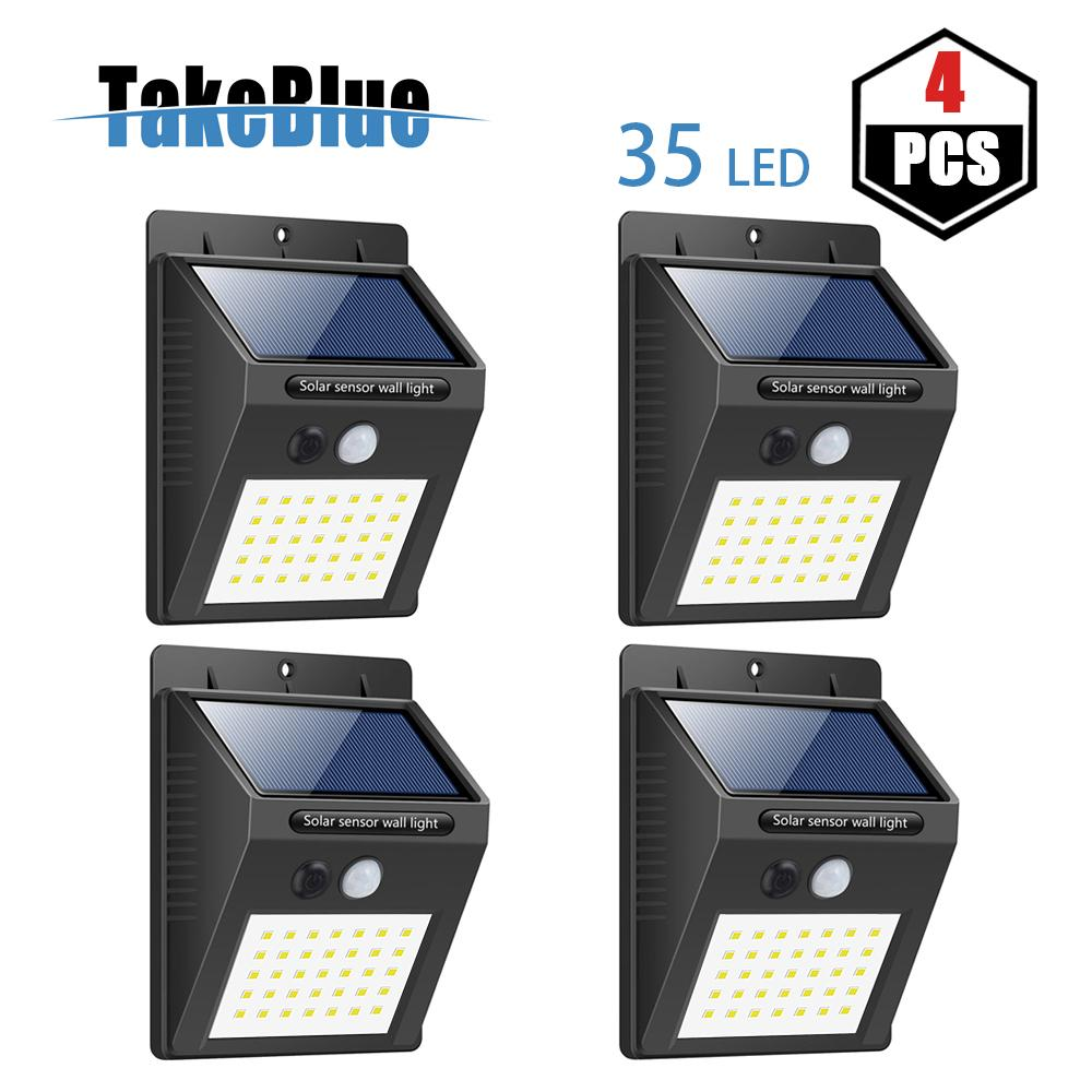 TakeBlue 35 LED Solar Lights Outdoor , 3 Intelligent Modes , Waterproof Solar Powered Motion Sensor Light Wireless Security Lights Outside Wall Lamp for Driveway Patio Garden Path 4 Pack