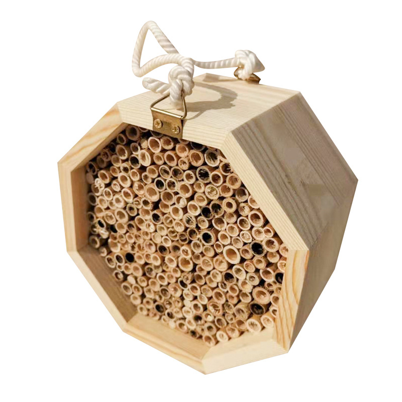 Handmade Natural Bamboo Bee Hive Mason Bee House Attracts Peaceful ...