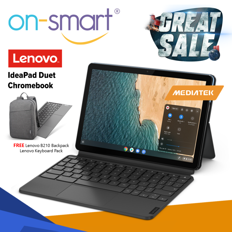 【Standard Delivery】Lenovo IdeaPad Duet Chromebook   MediaTek P60T Processor   4GB RAM   128GB eMMC Storage   Integrated ARM Graphics   Chrome OS   1 Year Carry-in Warranty   ZA6F0053SG   New Laptop Student Computer