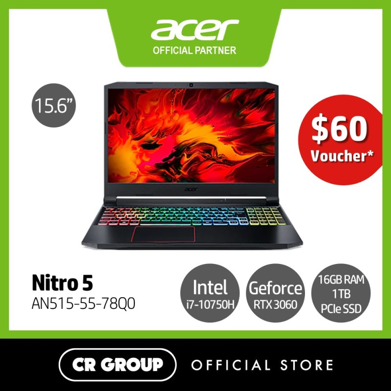 [Same Day Delivery] Acer Nitro 5 AN515-55-78Q0 15.6 Inch Full HD 144Hz Refresh Rate Gaming Laptop | Core i7-10750H | 16GB DDR4 RAM | 1TB PCIe SSD | Nvidia GeForce RTX 3060 6GB GDDR6