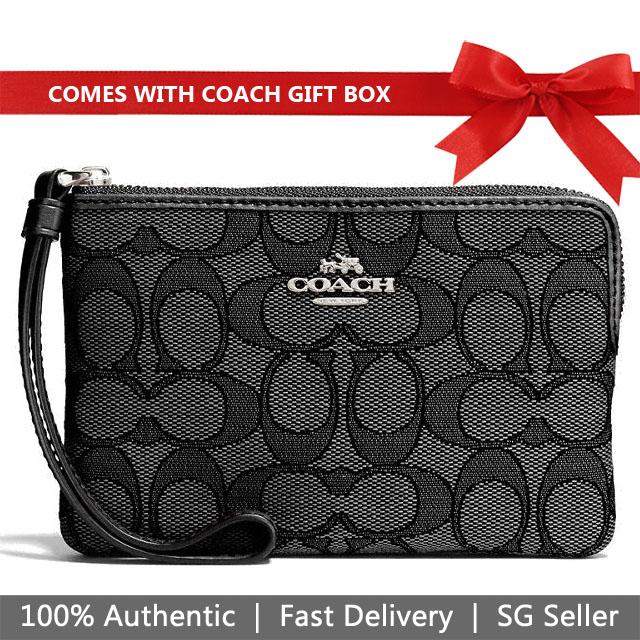 Coach Wristlet In Gift Box Small Wristlet Corner Zip Wristlet Black Smoke # F58033
