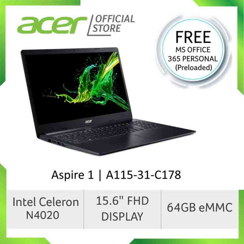 Acer Aspire 1 A115-31-C178 Laptop (Black) 15.6-Inch FHD Display With Preloaded Microsoft Office 365 Personal