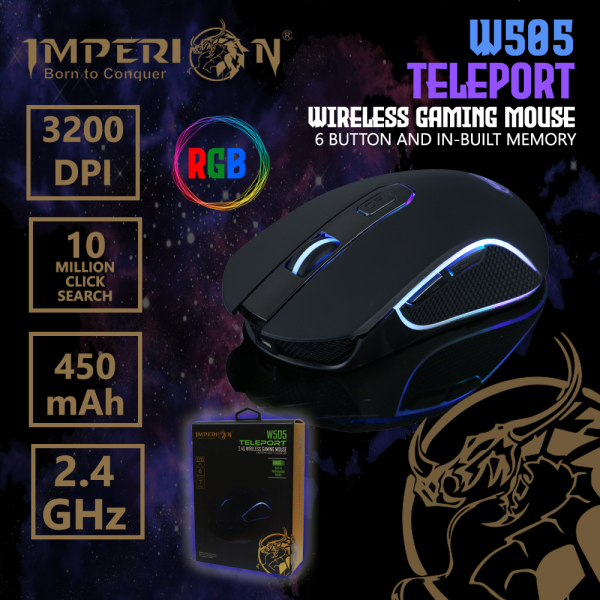 Imperion Wireless Gaming Mouse W505 Teleport 6 Button Built-In Memory