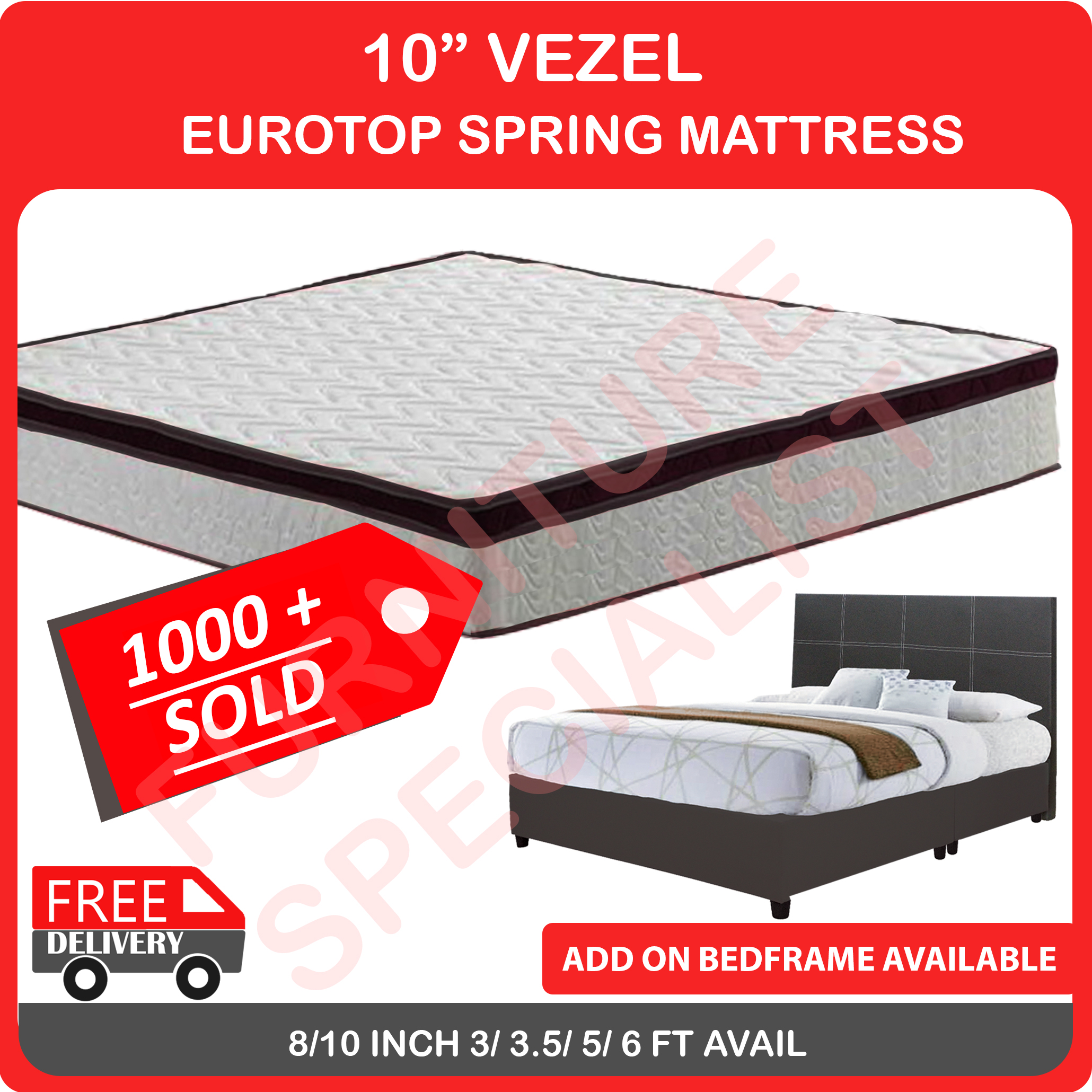 10   EUROTOP  MATTRESS Single/ Super/ Queen/ King Size