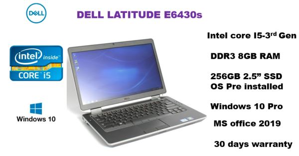 Dell Latitude E6430s - 14 display Intel core i5-3rd Gen,8GB RAM ,256GB SSD, Windows 10 pro, MS office