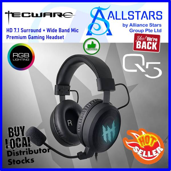 (ALLSTARS : We are Back / Conference + Gaming Promo) Tecware Q571 / Q5 series RGB HD 7.1 Surround + Wide Band Mic Premium USB Gaming Headset / Headphone / USB connection (TW-AC-Q571-RGB) (Warranty 1year with Local Distributor TechDynamic)