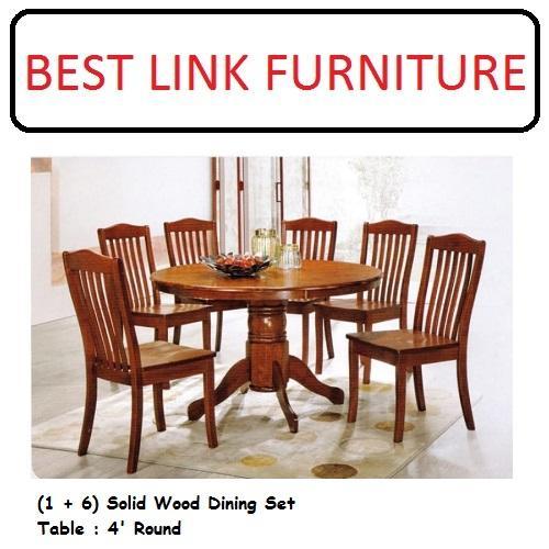 BEST LINK FURNITURE BLF 742 Round (1 + 6) Solid Wood Dining Set