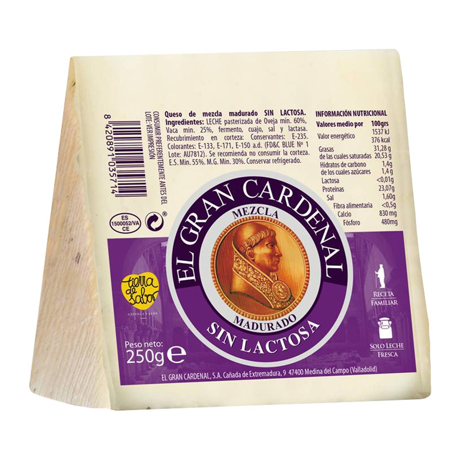 El Gran Cardenal Blended Milk Cheese without Lactose Spanish Cheese- By TANINOS