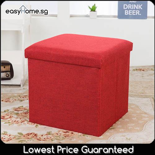 Fabric Ottoman Storage Box (2 sizes) / Organizer Sofa Seat Stool Chair