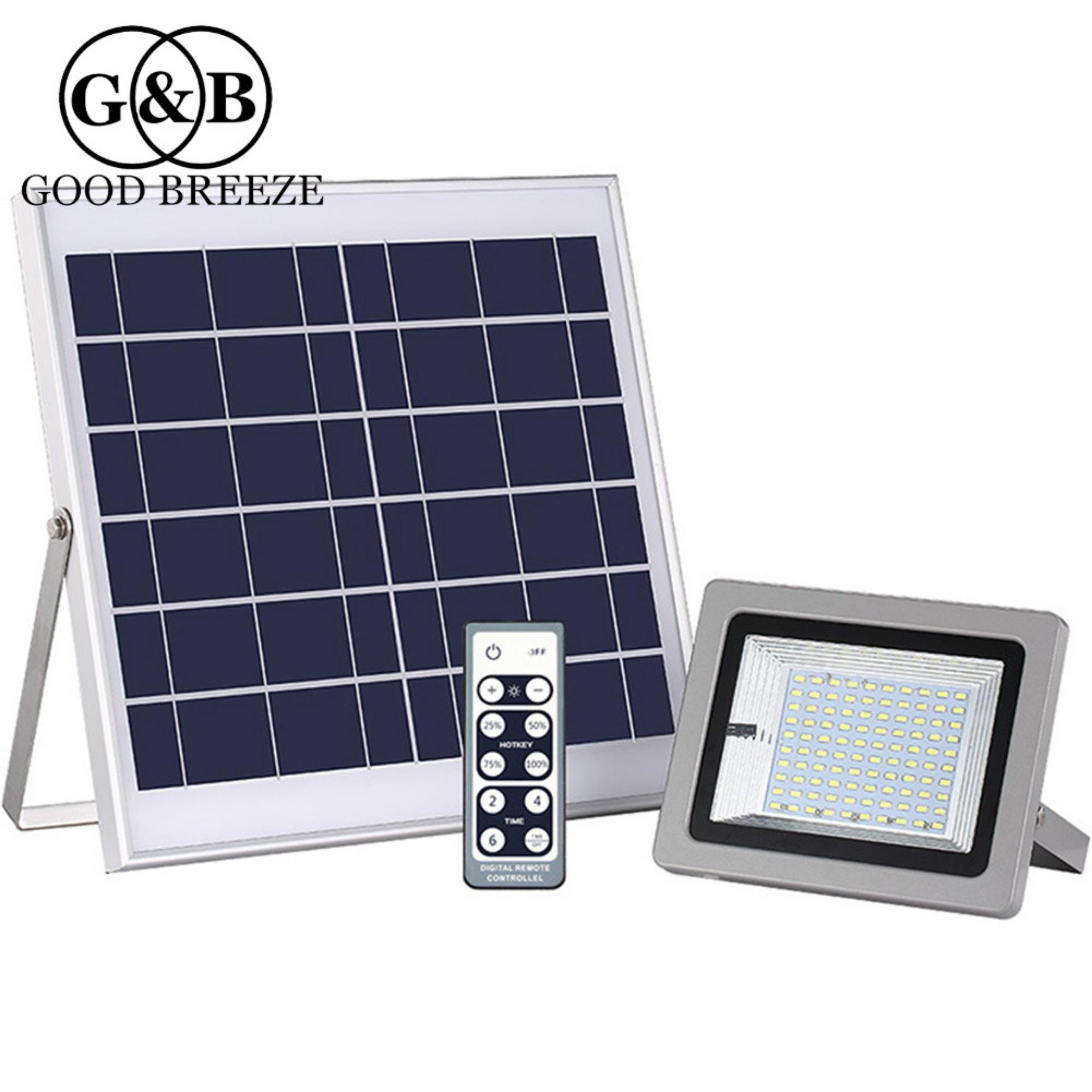 G&B Good Breeze Solar Flood Light, LED Solar Lights Auto-induction Outdoor Security Floodlight Waterproof IP65 for Patio Yard Garden Shed House Garage Court Billboard Pool
