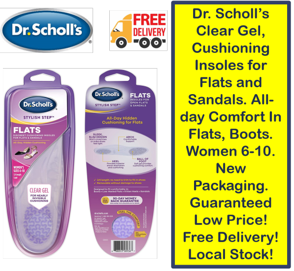 Buy Dr. Scholl's Clear Gel, Cushioning Insoles for Flats and Sandals. All-day Comfort In Flats, Boots. Women 6-10. New Packaging. Guaranteed Low Price! Free Delivery! Local Stock! Singapore