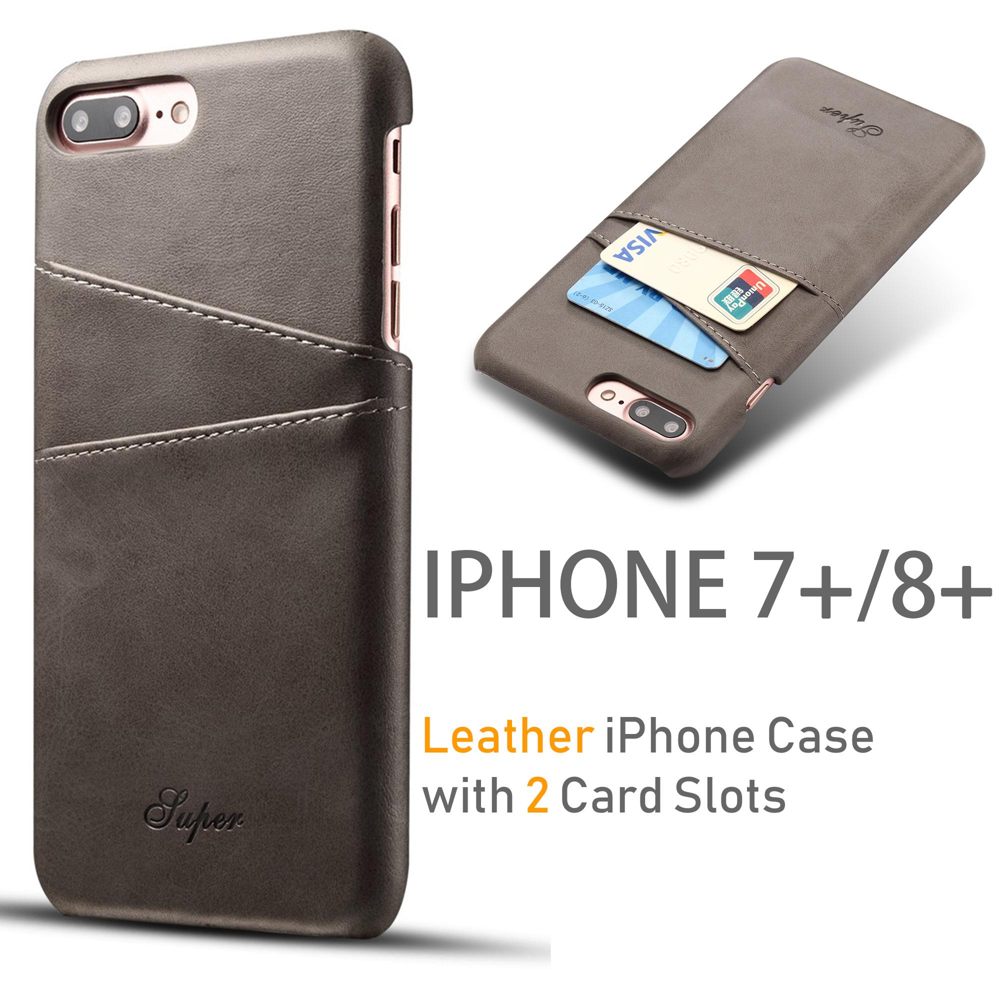 san francisco 1164b ed7d7 [iPhone 7 plus and iPhone 8 plus (5.5 inch)] Luxury High Quality PU Leather  Slim iPhone Armor Case /Cover with 2 Credit Card Holder Slot. Perfect ...