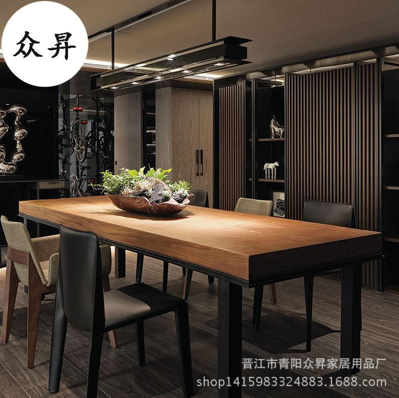 Northern Europe Square Feet Rectangular Dining Table Living Room Furniture Solid Wood Iron Art Boss Table Restaurant Hotel 6 8 People Table