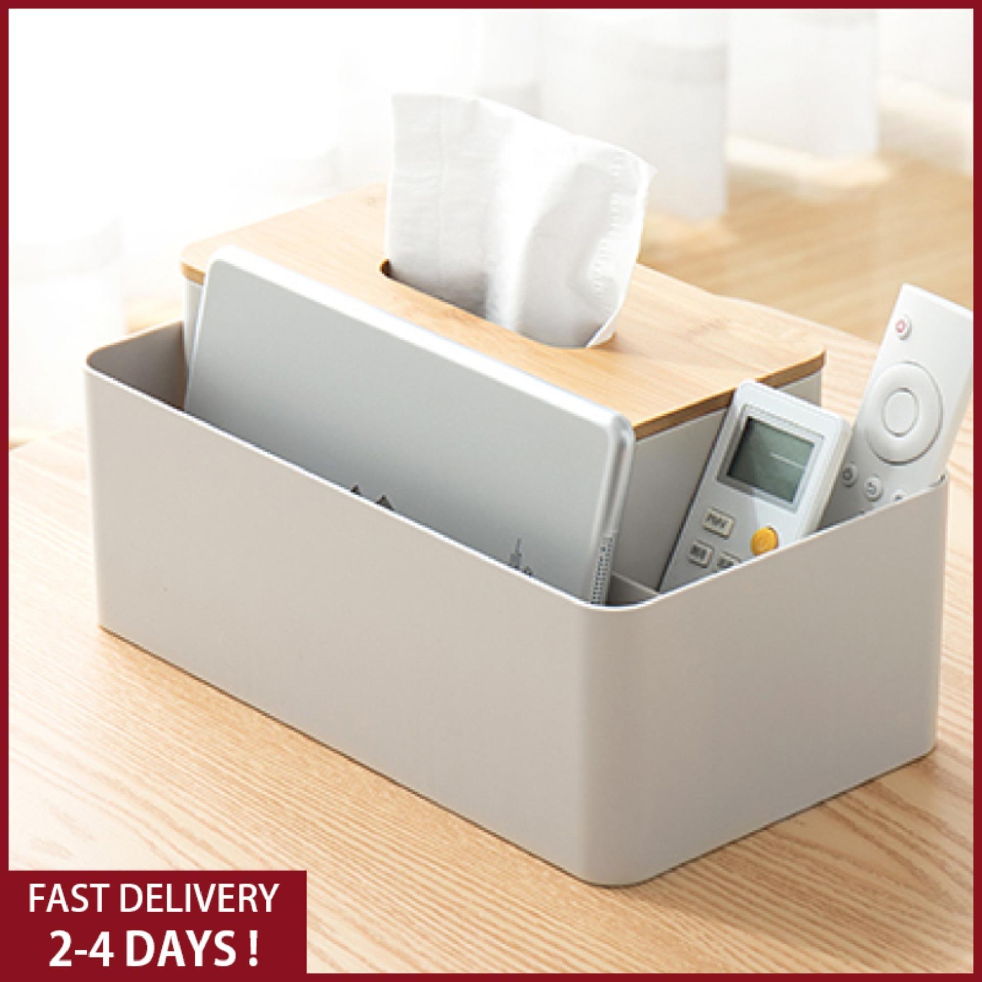 Bamboo Cover tissue Box holder Creative Desktop Pumping Paper Home Living Room Remote Control Storage tissue Box organizer