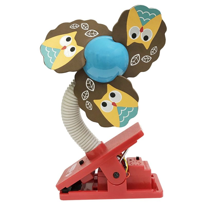 Lucky Baby Mini Safety Clip on Fan W/Ultrasonic Mosquito Repellent - Owl Singapore