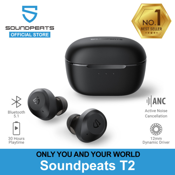 SoundPEATS T2 ANC True Wireless Earbuds With Active Noise Cancellation, Immersive Sound, 30 Hrs Playtime & Transparency Mode Singapore