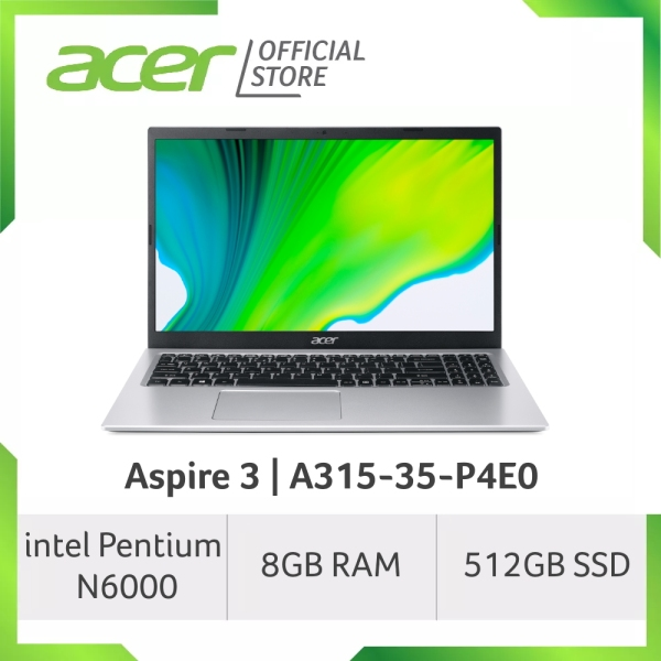 Acer Aspire 3 A315-35-P4E0 15.6 Inches FHD Laptop   Pentium N6000   8GB RAM   512GB SSD Storage