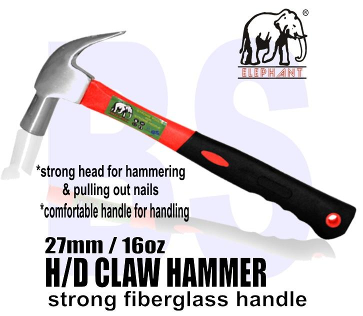 BANSOON H/D Claw Hammer comes with Fiberglass Handle / Home DIY Hammer / one side hammer, one side claw to pull out nails/ 27mm/16ooz