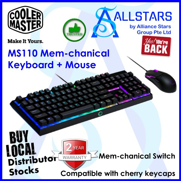(ALLSTARS : We are Back / Gaming Promo) CoolerMaster MS110 Combo Bundle with Mem-chanical Gaming Keyboard and Gaming Mouse with Optical Sensor (MS-110-KKMF1-US) (Warranty 2years with Local Distributor BanLeong) Singapore