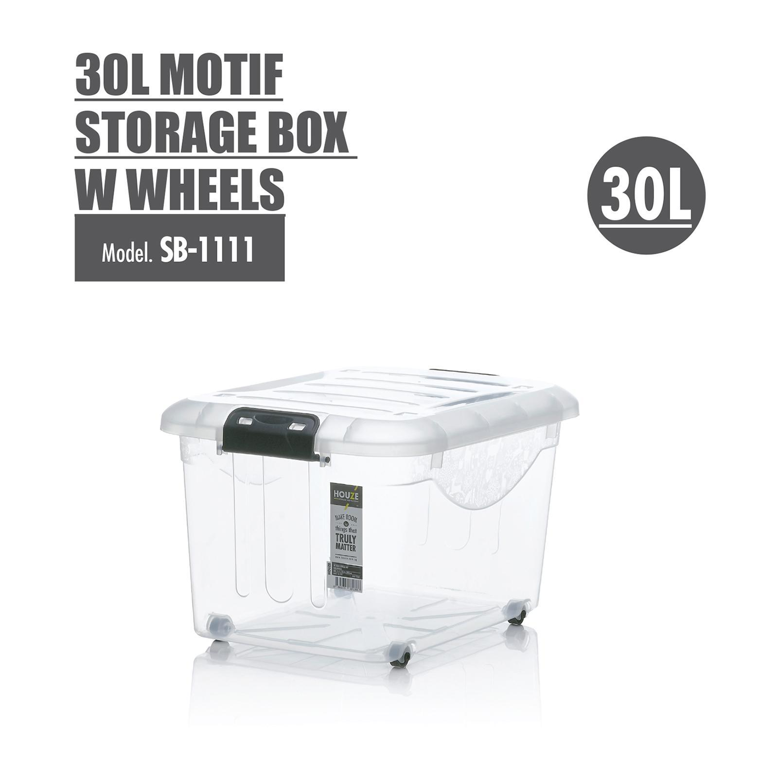 Houze 30L Motif Storage Box With Wheels - SB-1111-CLEAR