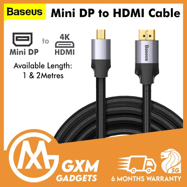 BASEUS Mini DP Male to HDMI Male Adapter Cable 1m/2M Enjoyment Series TV Computer Projector Laptop