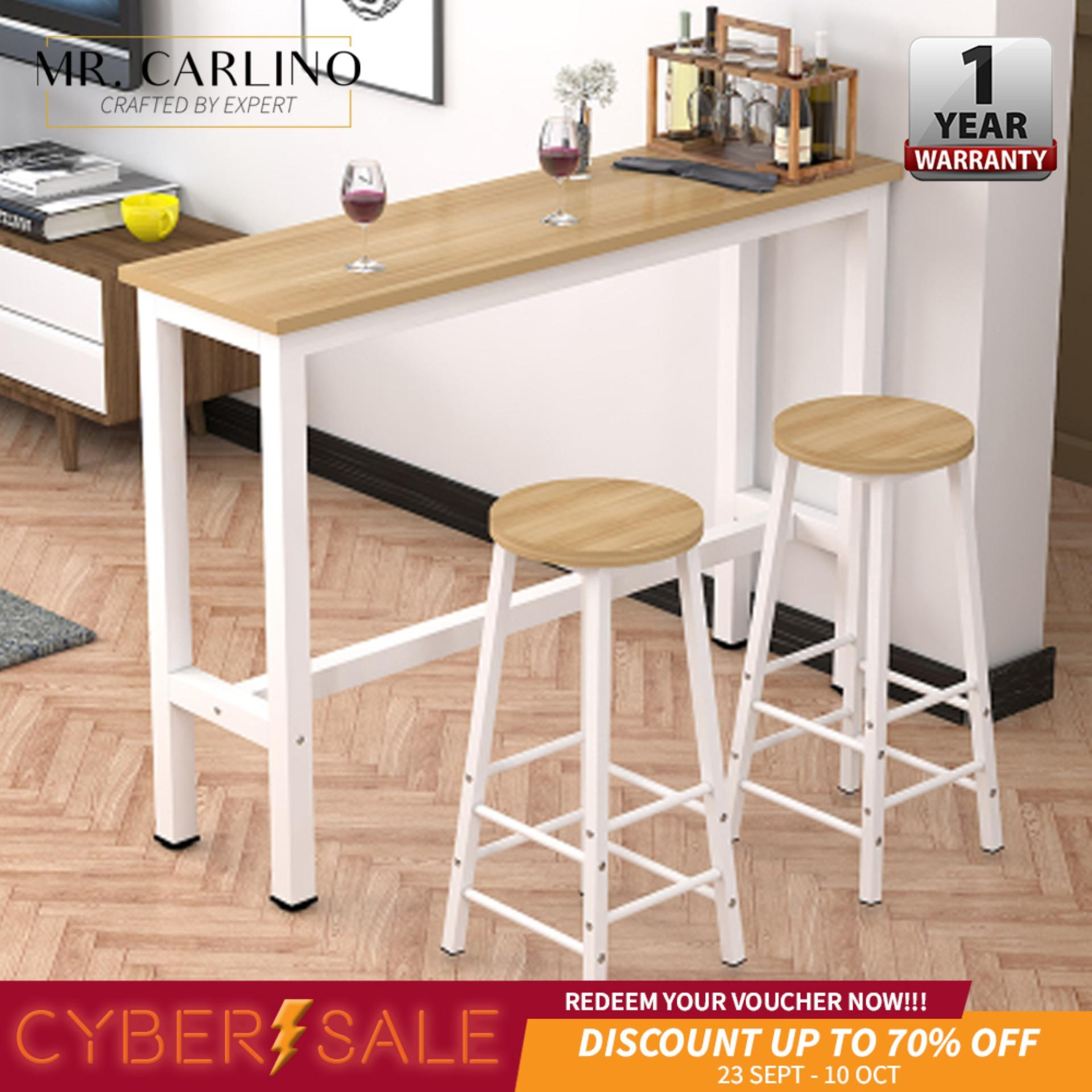 CIEL Living Room Simple Desk Solid Rubber Wood Bar Table With 2 Stool