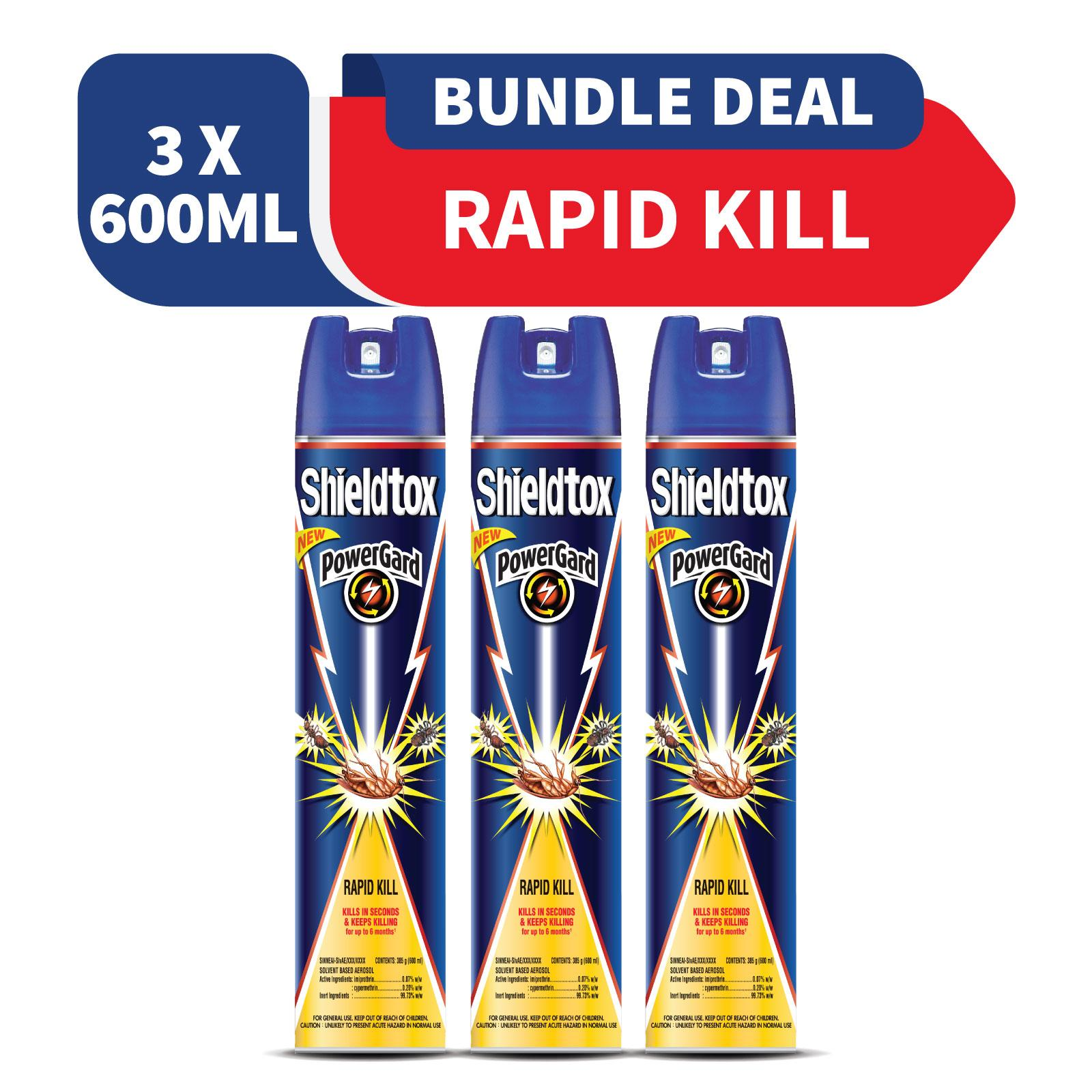 Shieldtox Powergard Rapid Kill 600ml X 3 By Rb Home.