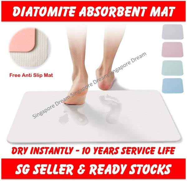 Diatomite Mat - Earth Absorbent Fast Drying Bath Floor Mat Non slip Antibacterial For Bathroom & Shower Size 60x39 cm ( mat diatomite soap coaster pad earth diatomaceous holder water dish absorption heat absorbent drink resistant )