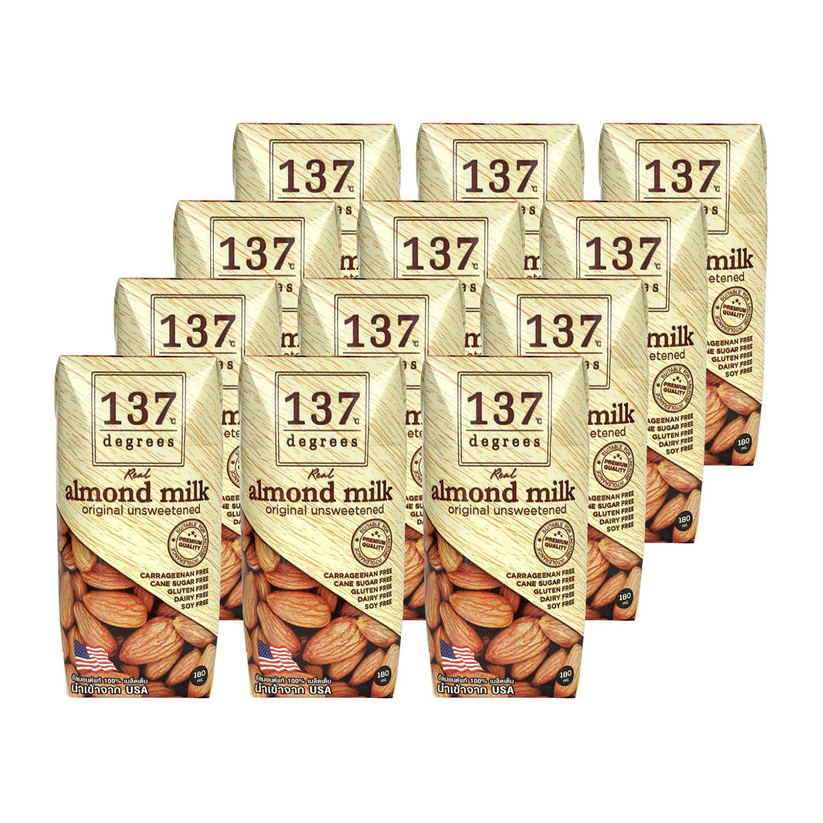 137 Degrees Almond Nut Milk (Unsweetened) 12 Pack Bundle