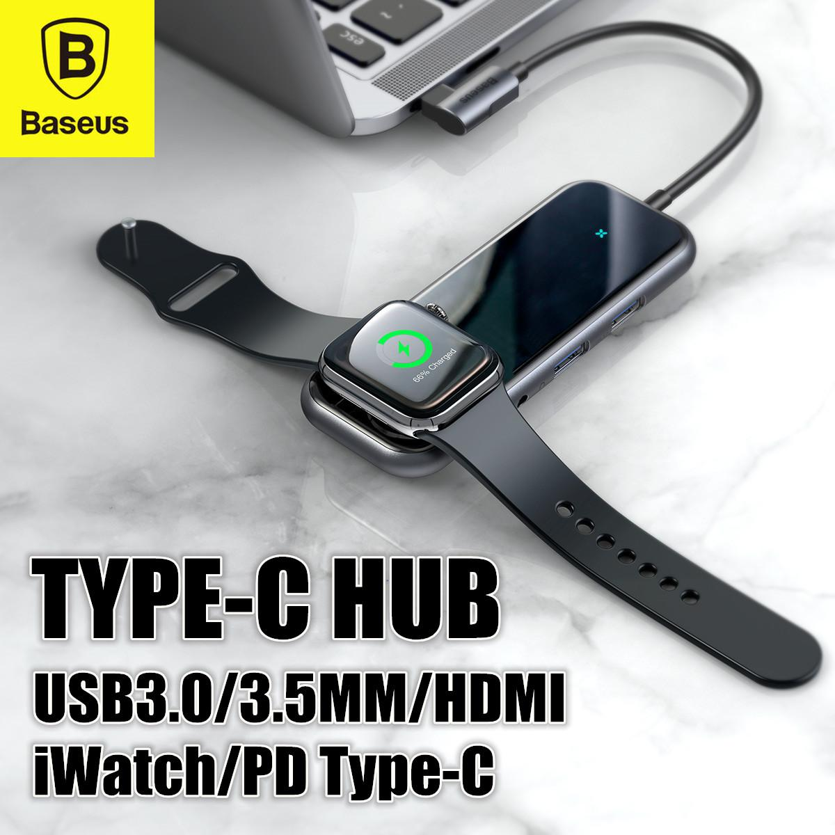 Baseus Mirror Type-C to 2 x USB3.0 + HDMI + Audio + PD + iWatch wireless charger Type-C HUB Adapter Convertor